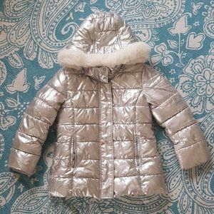 H&M Silver puffer coat with detachable hood